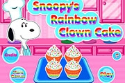 Snoopy's Rainbow Clown Cake